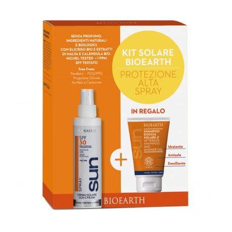 doccia solare spray bioearth kit solare spray spf 50 alta 150 ml doccia