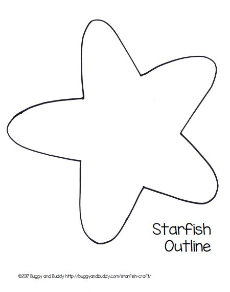 template of starfish easy starfish craft for with free printable template diy and crafts