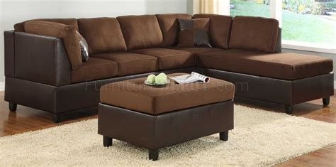 9909ch comfort sectional sofa in chocolate microfiber by