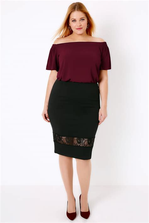 black pencil skirt with lace cut out panel plus size 16 to 32
