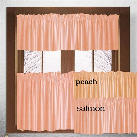 Solid Color Kitchen Curtains Solid Or Salmon Colored Kitchen Cafe Curtains