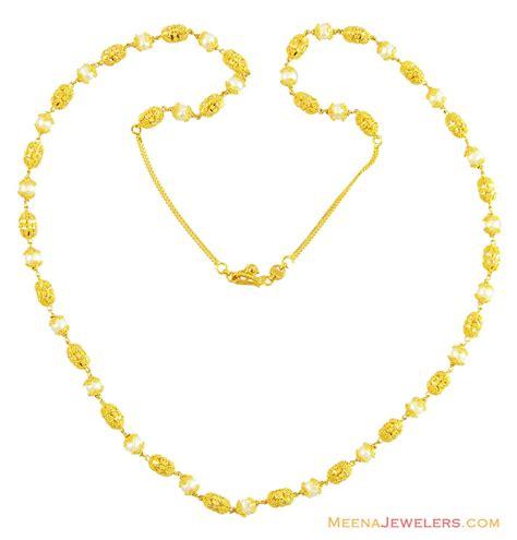 gold mala pattern 22k gold designer pearl mala chlo14402 22k gold