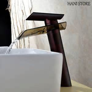 rubbed bronze bathroom vessel faucet glass waterfall
