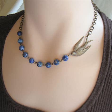 blue bird necklace bluebird necklace nature jewelry