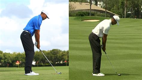 tiger woods swing from behind tiger woods swing 2014 hero world challenge vs 2013