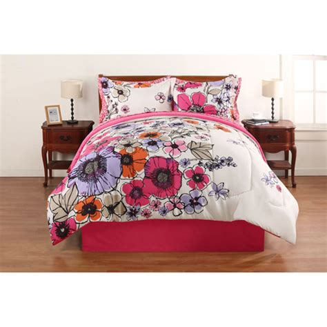 bed in bag walmart mainstays coordinated bedding set watercolor floral