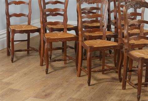 country french antique oak louis xv style dining table at antique set of 10 french louis xv style oak ladder back