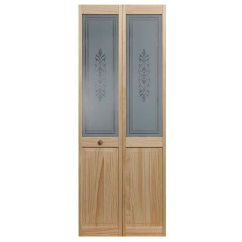 Pinecroft 24 In X 80 In Lace Glass Over Raised Panel Bi Fold Doors Glass Panels