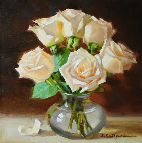 paintings by katsyura white roses in vase