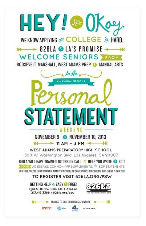 personal statement weekend poster diana molleda