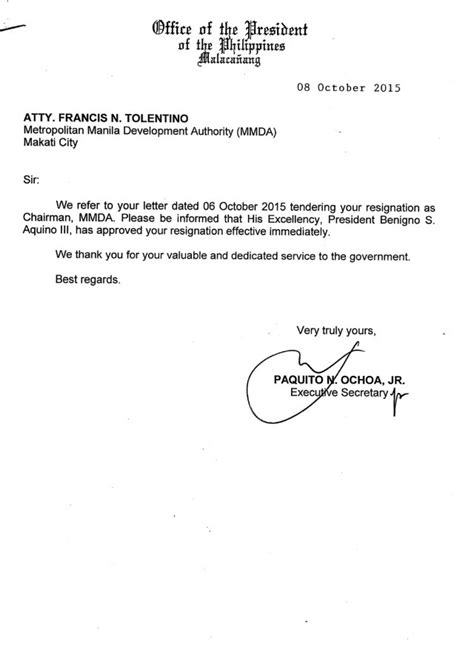 Resignation Letter Not Accepted Philippines Aquino Accepts Resignation Of Tolentino Effective Immediately Inquirer News
