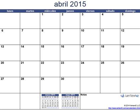 Calendario De Abril 2015 Calendario 2015 Mes Por Mes Para Imprimir Universo Guia