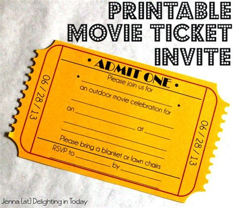 printable show tickets free printable movie ticket invite video tutorial on