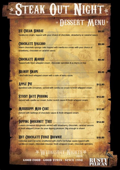 steak house menu restaurant menus and takeaway meals matakana rusty pelican pizzeria and restaurant