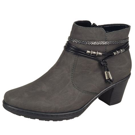 womans grey boots rieker thame 54953 45 s grey ankle boots lambswool