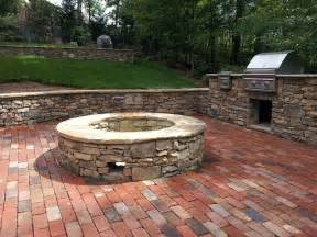 Brick Patio With Fire Pit by Natural Stone Retaining Wall Brick Patio Outdoor Grill