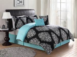 black turquoise teal blue comforter set elegant scroll