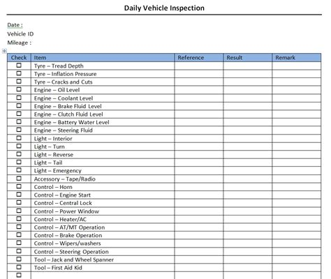 vehicle safety checklist template daily vehicle check items to of daily vehicle