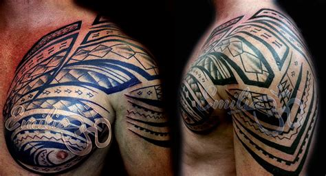 half chest tattoo polynesian shoulder and half chest balinese