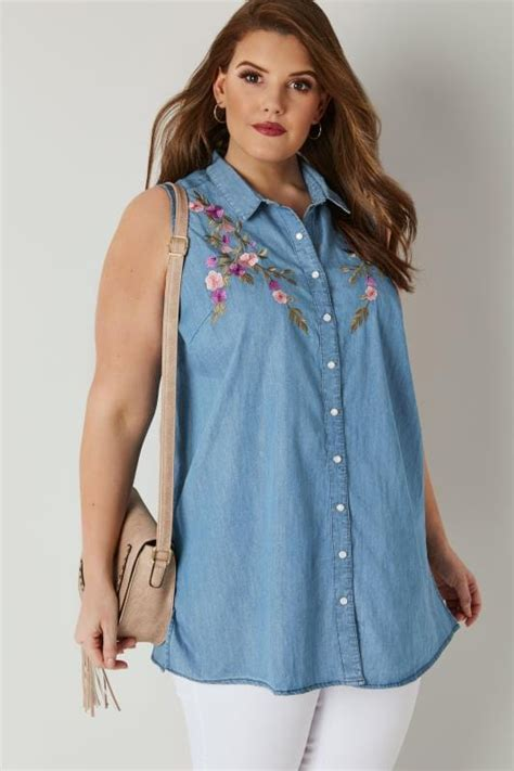 44990 Black Space Embriodery Top blue floral embroidery sleeveless denim shirt plus size