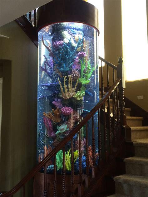 Home Design Living Room cylindrical aquarium with faux reef aquarium maintenance