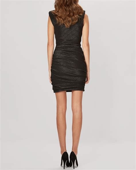 Maje Dress lyst maje dress regard ruched metallic in black