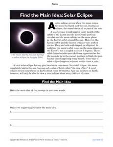 high main idea worksheet about solar eclipses