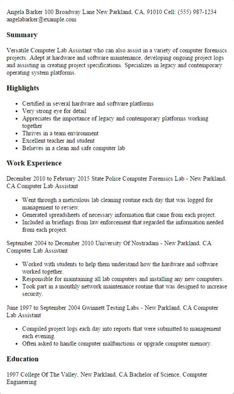 lab assistant resume templates professional computer lab assistant templates to showcase your talent myperfectresume