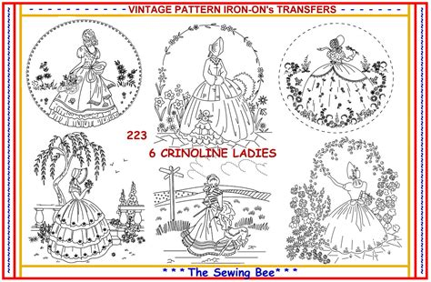 embroidery design transfer 223 6 new crinoline lady ladies embroidery iron on