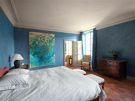 tranquil blue bedroom interiors by color