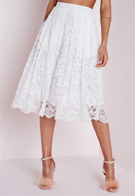 Whita Skirt premium lace midi skirt white missguided