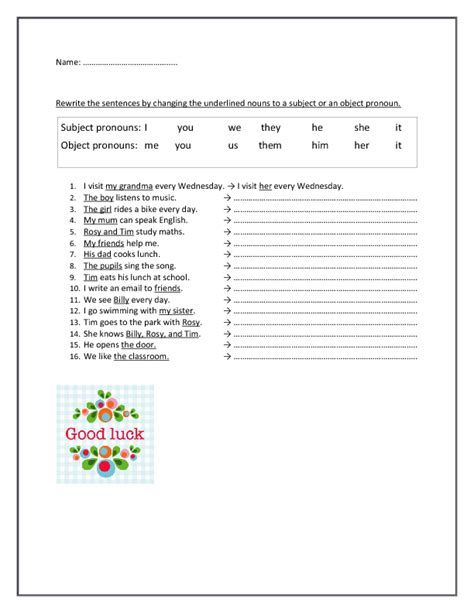 Subject And Object Pronouns Worksheets by Subject And Object Pronouns