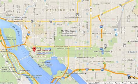 washington dc map lincoln memorial lincoln memorial on map of washington dc world easy guides