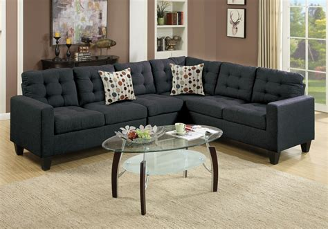 Plush Sectional Sofas Reversible Sectional Sofa Loveseat Wedge Plush Tufted Seat Black Polyfiber