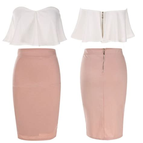 Blouse Pencil Skirt Set shoulder ruffle white crop tops bodycon
