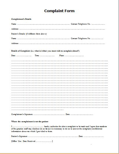 formal complaint form template official complaint form templates for word formal word