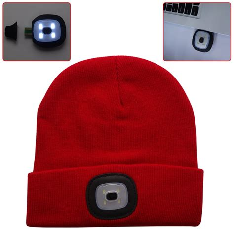 led knit caps 4 led light cap knit beanie hat with 2 batteries outdoor