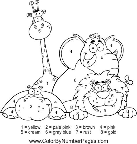 zoo coloring pages preschool happy zoo animals color by number coloring picture