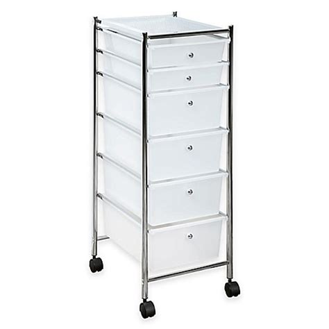 plastic storage cart 6 drawers buy 6 drawer plastic rolling storage cart in chrome clear
