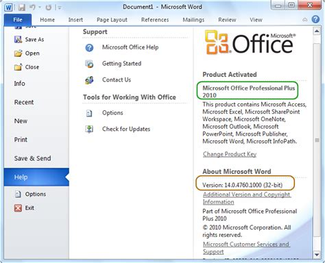 how do i find out what bit version of office 2010 i