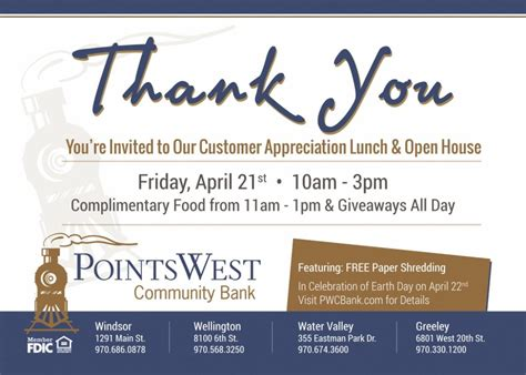 Customer Appreciation Invitation Letter Customer Appreciation Lunch Open House Points West Community Bank Colorado