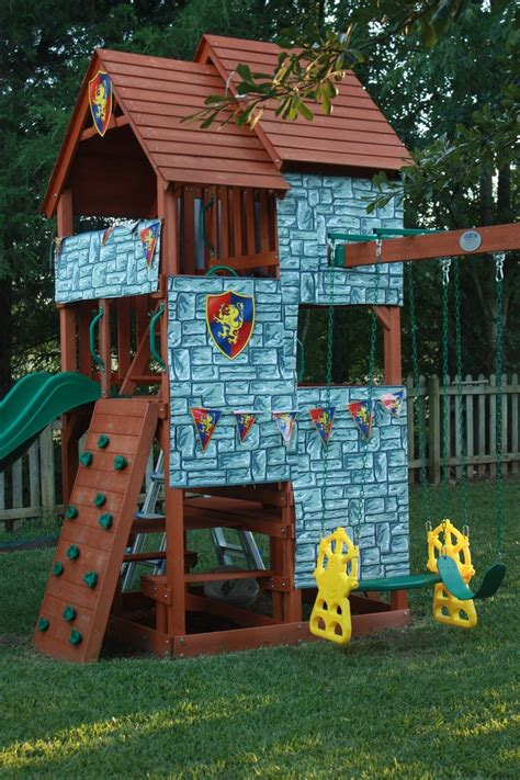 castle swing set plans backyard swing set turned castle naomi pinterest