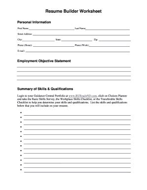 Resume Builder Worksheet by Fill In The Blank Resume Worksheet Fill Printable Fillable Blank Pdffiller