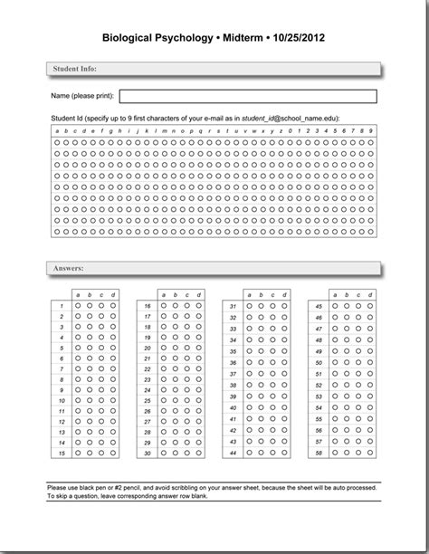 printable quiz answer sheets 6 best images of blank scattergories answer sheets