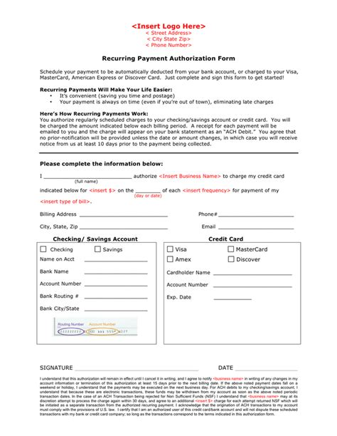 automatic payment authorization form template delli beriberi co