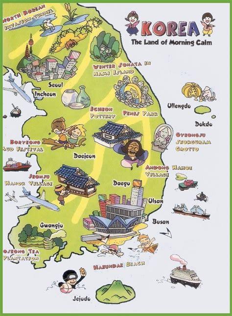 south korea city map tourist map of south korea