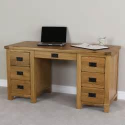 big desks rustic oak large pedestal desk