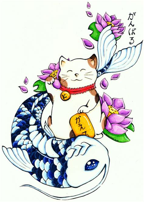 maneki neko and koi fish by moristhil on deviantart