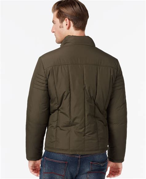 moto style jacket lyst kenneth cole quilted moto style jacket in green for