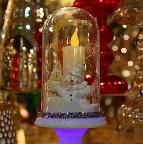 battery lighted christmas decorations glass cloche battery operated led winter scene on